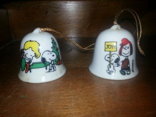 Vintage Snoopy Christmas Bell Ceramic Ornament Japan  99 I Only Have Schroeder And Snoopy