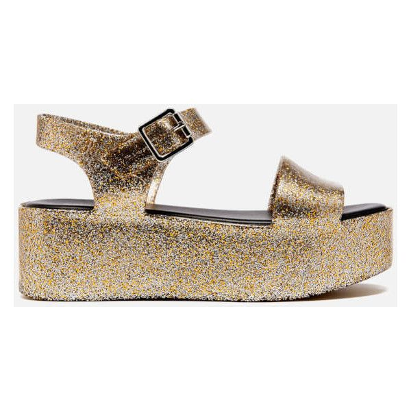 2001be5c133 Melissa Women s Mar Flatform Sandals - Gold Glitter ( 63) ❤ liked on  Polyvore featuring