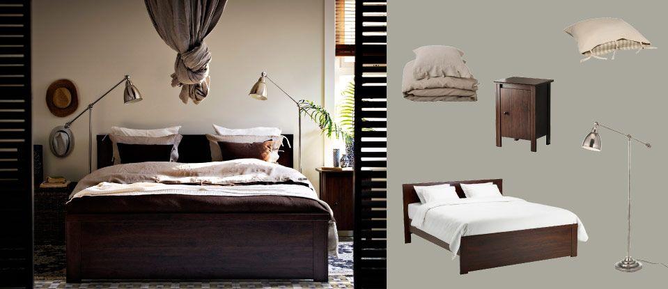 Brusali letto marrone con comodini e barometer lampade da terra lettura nichelate casa leuca - Lampade da lettura a letto ...