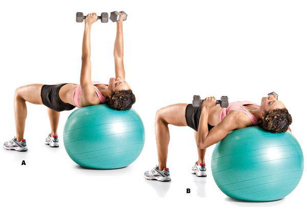 Image result for Exercise Ball Dumbbell Chest Press