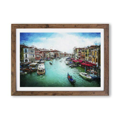 Photo of Framed Poster Gondolas in Venice East Urban Home Size: 45 cm H x 63 cm W x 2 cm D, frame type: Walnut
