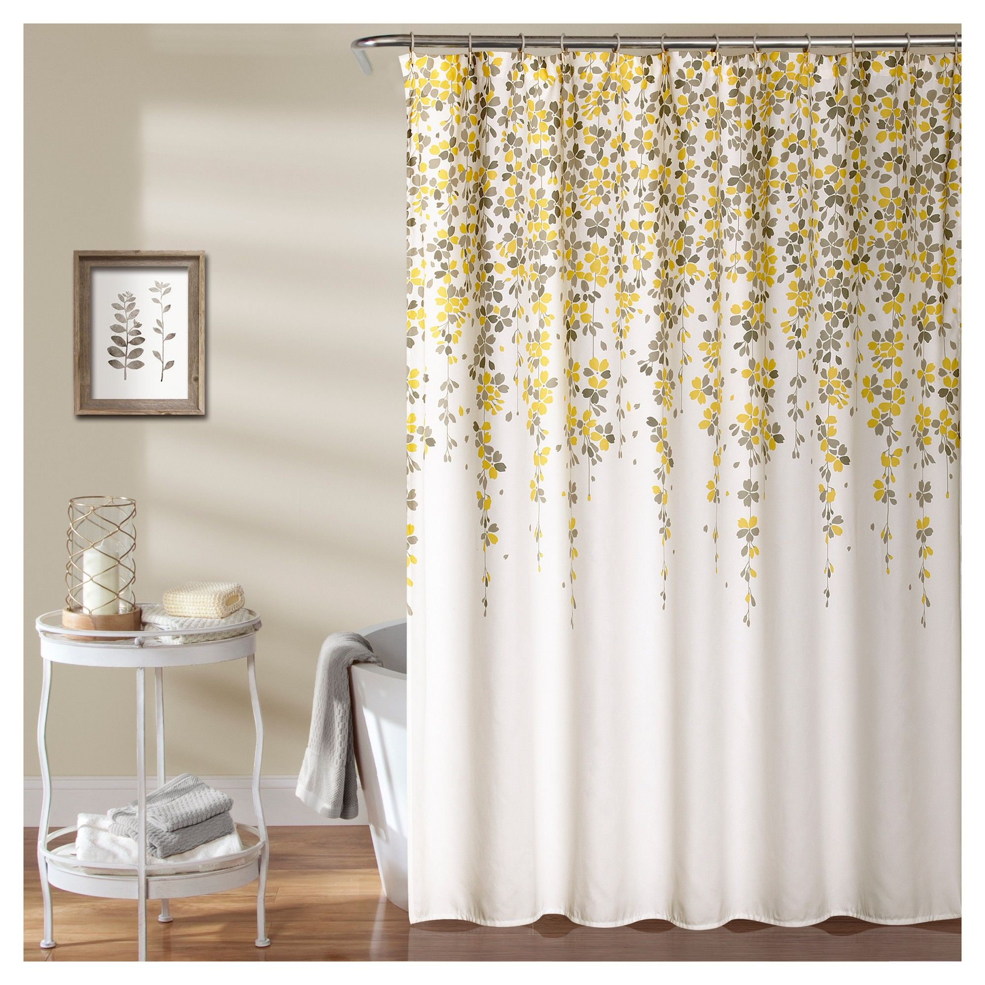 Weeping Flower Shower Curtain Yellow Gray Lush Decor Floral