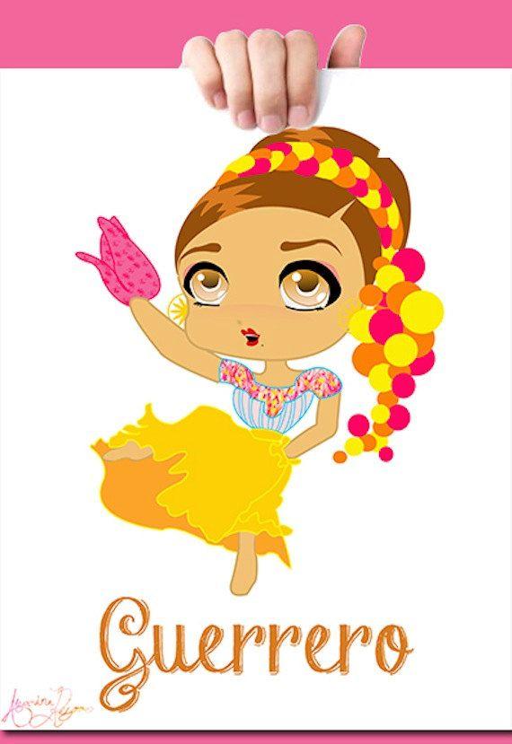 Las Amarillas Guerrero Dancer - Art Print by RAFolkPrints on Etsy ...