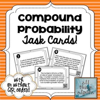 compound probability task cards my tpt store all things algebra parallel perpendicular. Black Bedroom Furniture Sets. Home Design Ideas