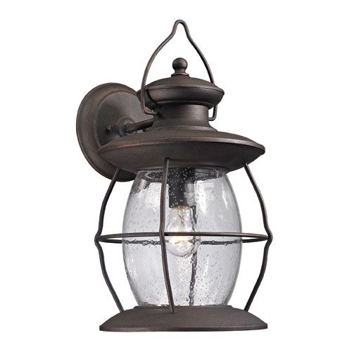 Village lantern weathered charcoal one light outdoor wall sconce elk lighting wall