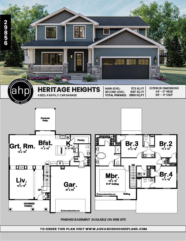 2 Story Craftsman Style House Plan