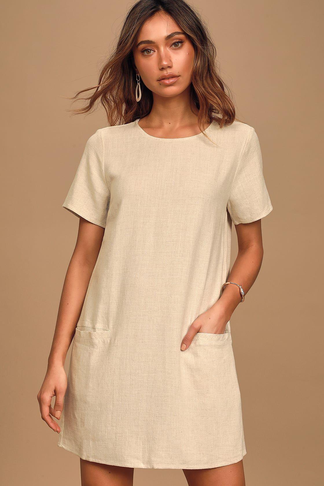 Simply Classic Beige Short Sleeve Shift Dress Short Sleeve Shift Dress Shift Dress Short Sleeve Mini Dress [ 1680 x 1120 Pixel ]