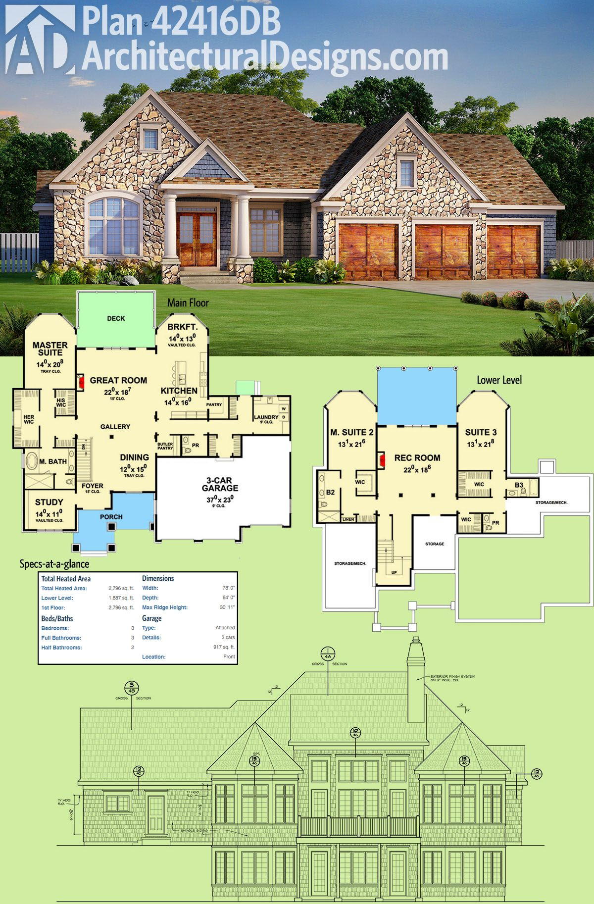 Plan 42416db For Your Sloping Lot Architectural Design