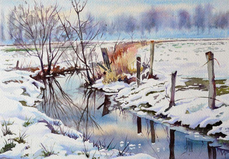 Rivi re de neige jo l simon aquarelles en 2019 - Dessiner un paysage d hiver ...