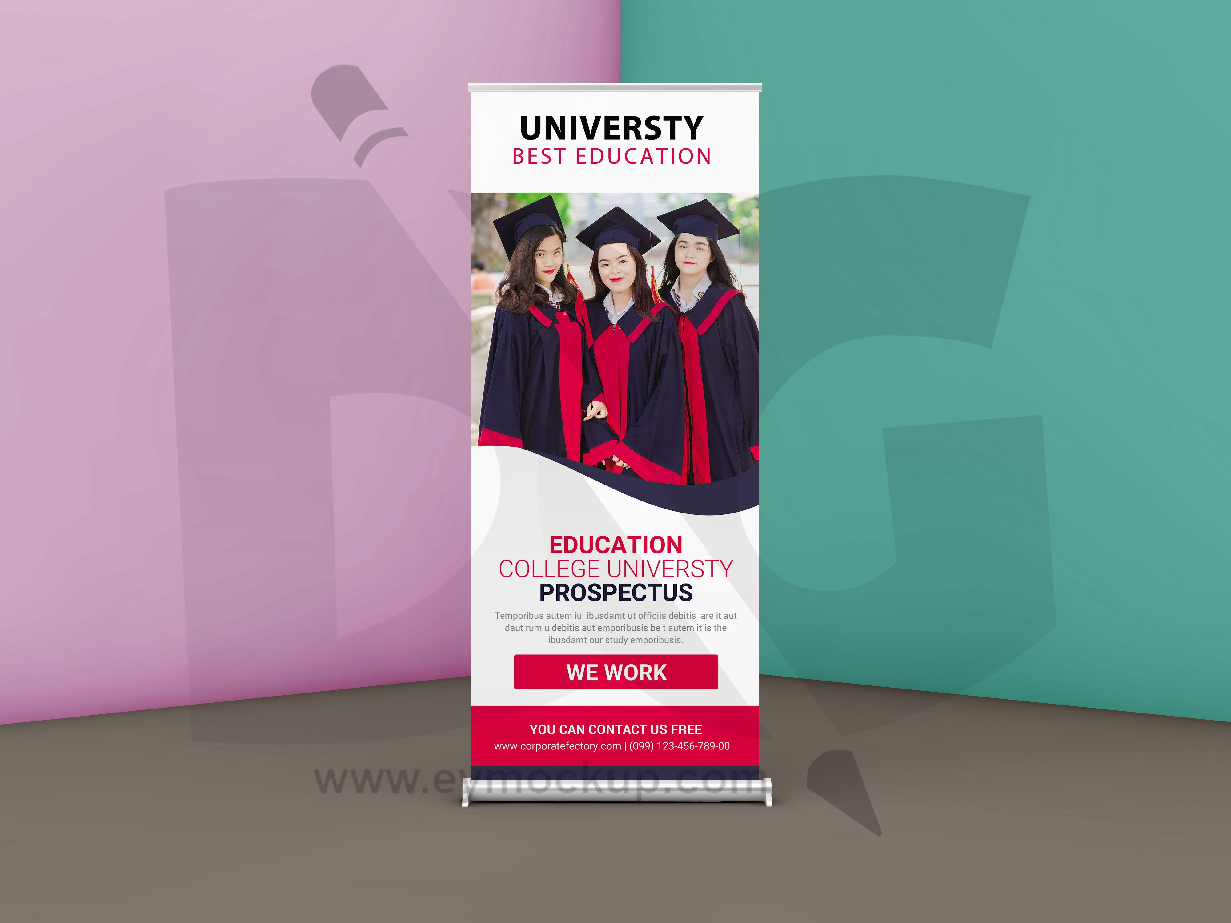 Free University Roll Up Banner Template Education Banner Banner
