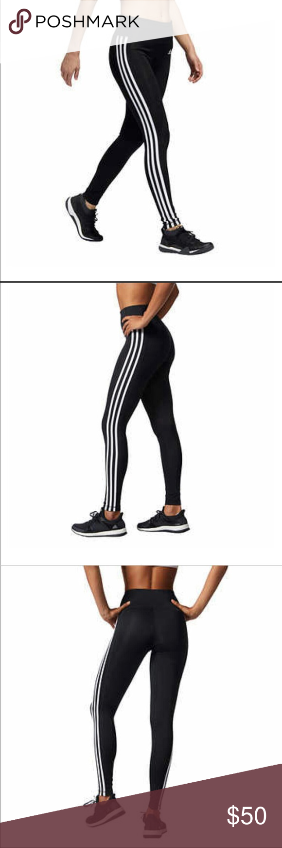 19639dea84607 Adidas Climate 3 Stripe Leggings Woman's Adidas 3 stripe Leggings NWT  Climate control High waisted Nice waist band with hidden pocked in back  waist band New ...
