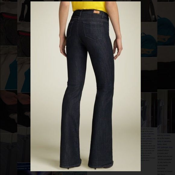 """Rising Glen High Rise Bootcut Stretch Jeans Paige Black Sea Wash color jeans 32"""" inseam brand new no tag                                          Versatile dark-rinse stretch jeans, cut with a sophisticated higher rise and flattering boot-cut leg, feature a subtle black cast and whiskering at the thighs. Zip fly with button closure. Two front pockets; coin pocket; two back pockets, one with hidden card  Approx. rise: front 10""""; back 14"""". Cotton/polyester; machine wash.  By Paige Denim; made…"""