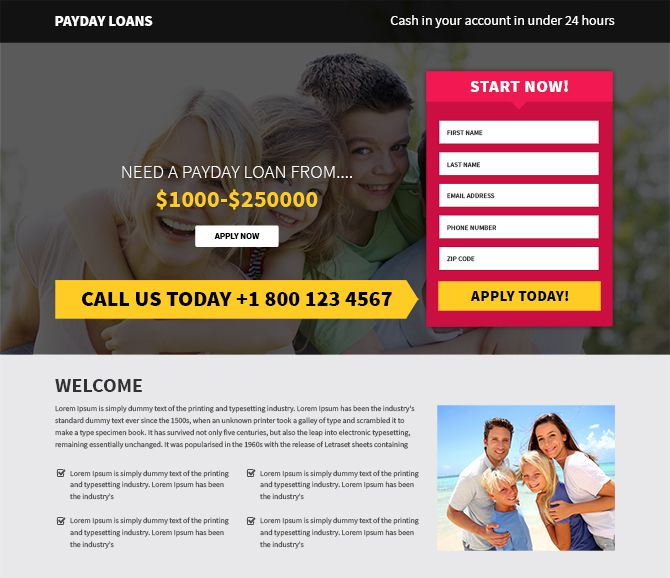 Free Payday Loans Lead Generation Landing Page Templates