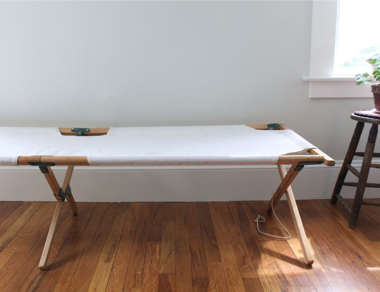 Vintage Collapsible Camp Cot / Daybed, Bench, Canvas ...