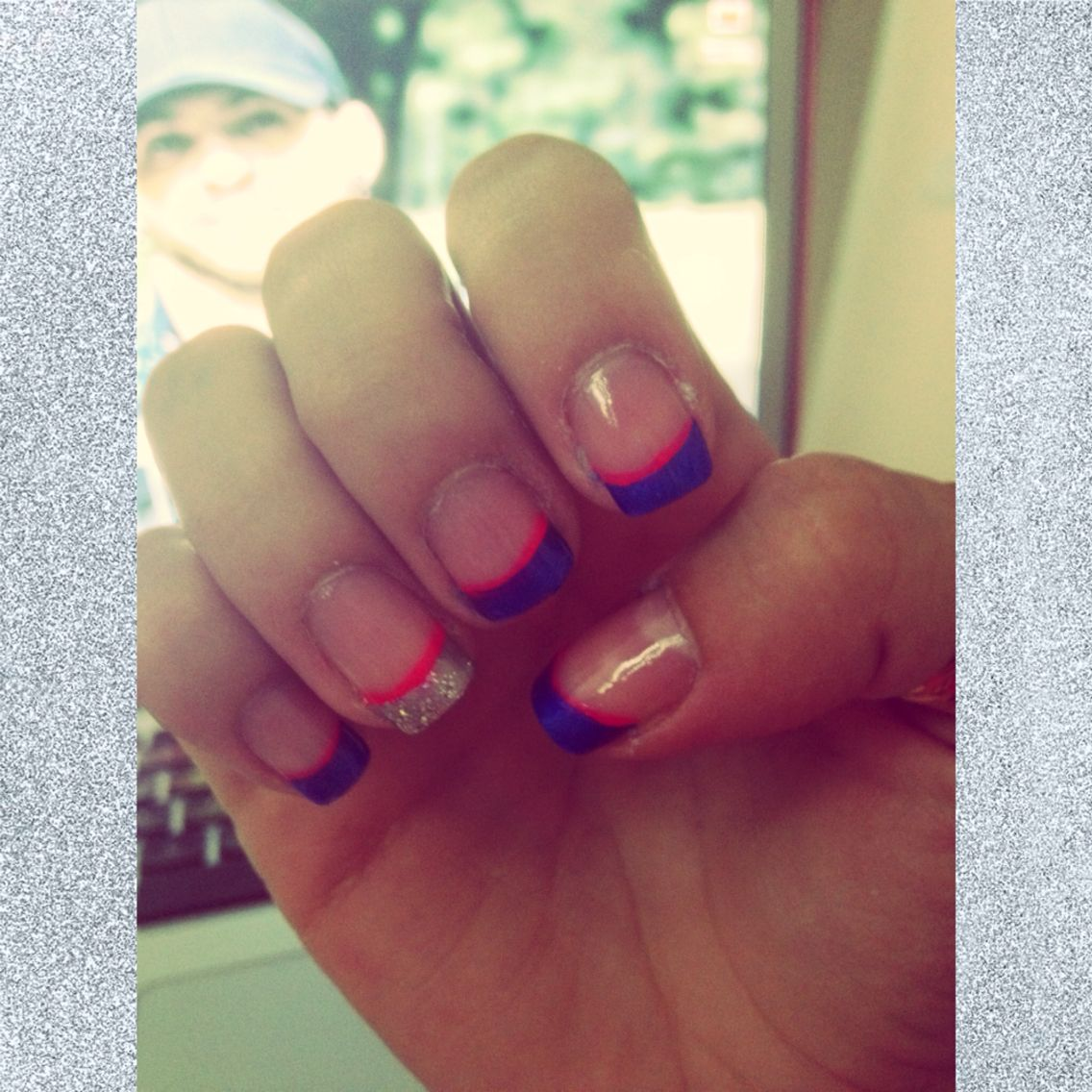 Blue silver and pink nails :) Dallas Cowboys Nails - Breast Cancer ...