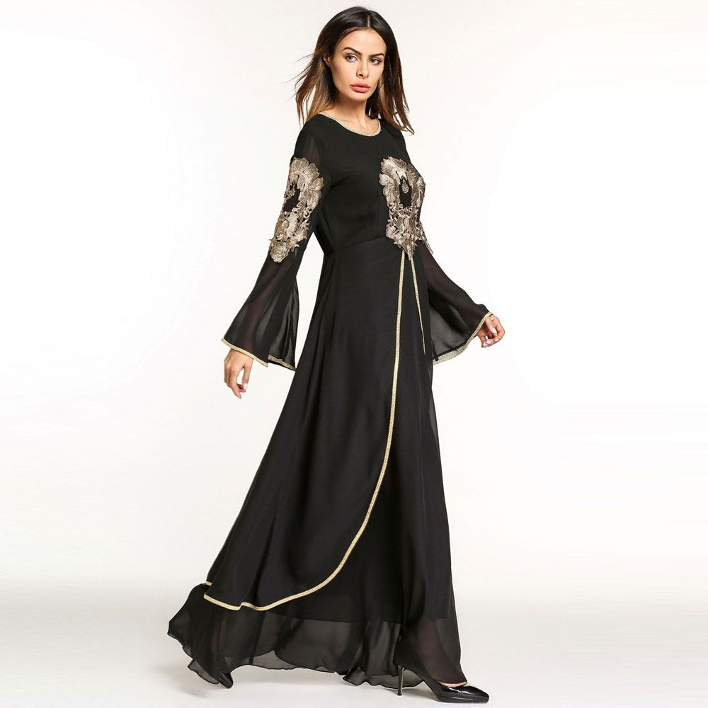 7093a38e1a8e9 2018 fashion Chiffon Golden Dress For Women Abaya Arab Turkey Middle ...