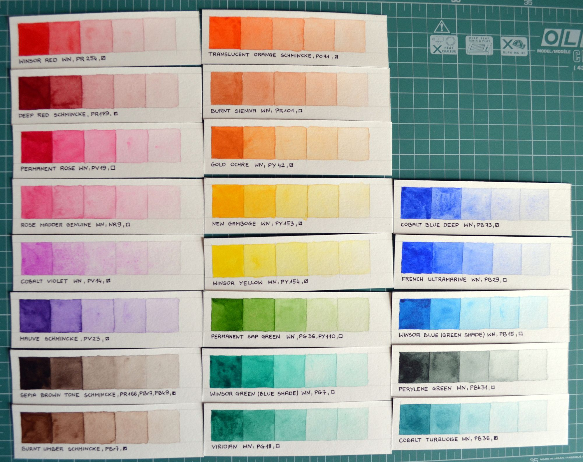 Color Swatches Of Winsor Newton Professional And Schmincke Horadam