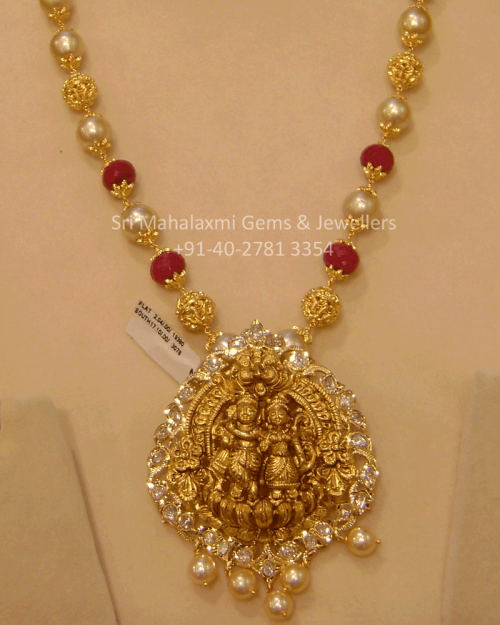 Temple Jewelry Long Necklace with Pearls & Ruby Beads with ...