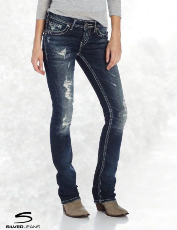 26387796 Silver Jeans Juniors Aiko Medium Wash Ripped Baby Bootcut Jean ...