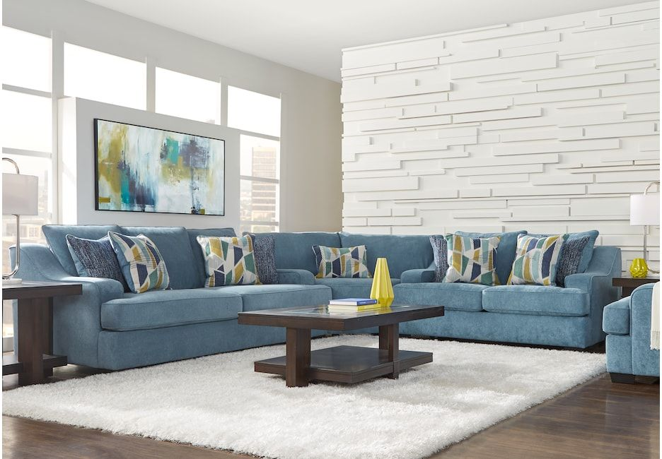Super Havenridge Blue 3 Pc Sectional In 2019 Sectional Living Unemploymentrelief Wooden Chair Designs For Living Room Unemploymentrelieforg