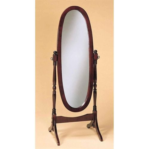 Cherry Finish Oval Cheval Mirror Full Length Solid Wood Floor Mirror ...