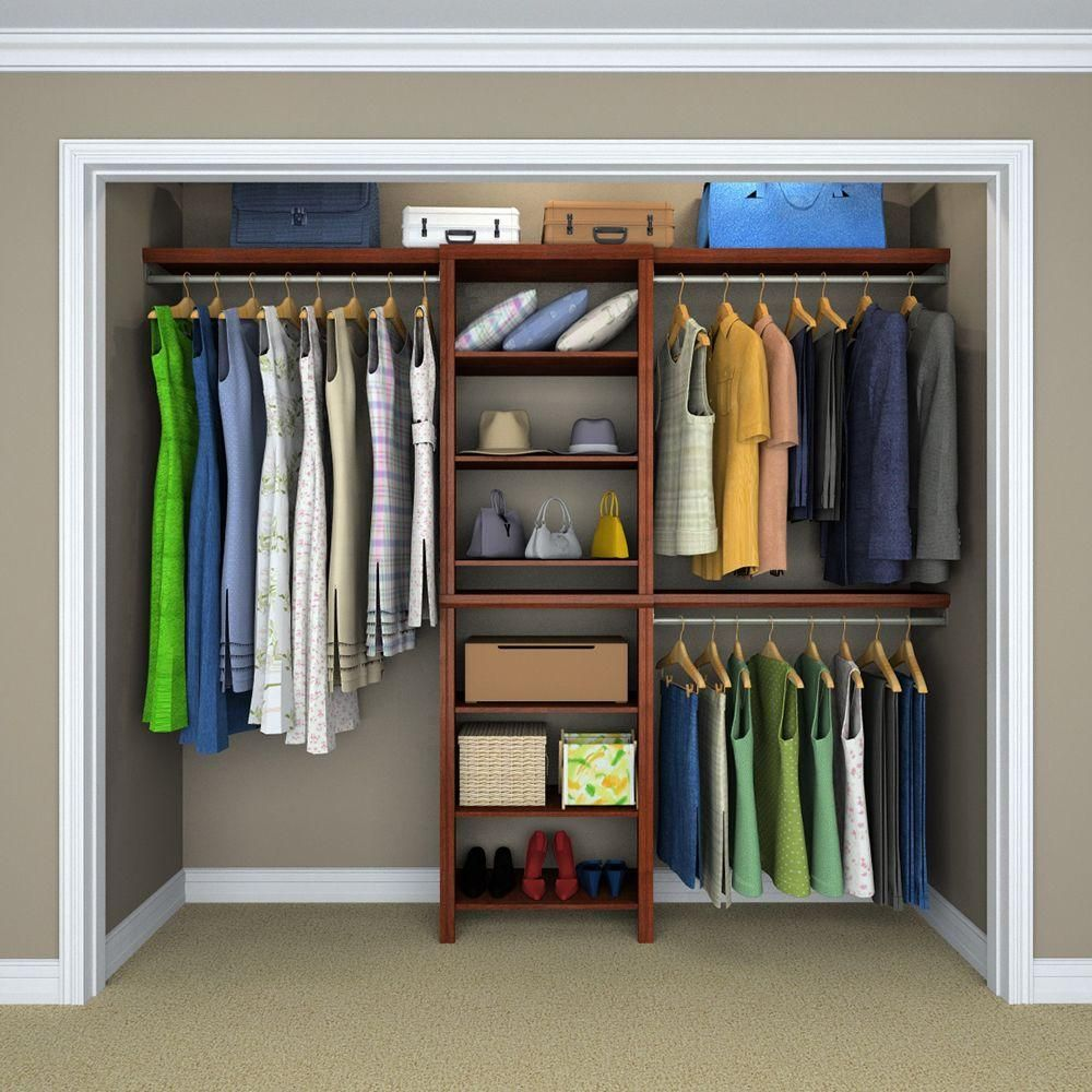 Closetmaid Impressions 5 Ft 10 Ft Dark Cherry Basic Closet System 15086 The Home Depot Wood Closet Systems Home Depot Closet Closet System