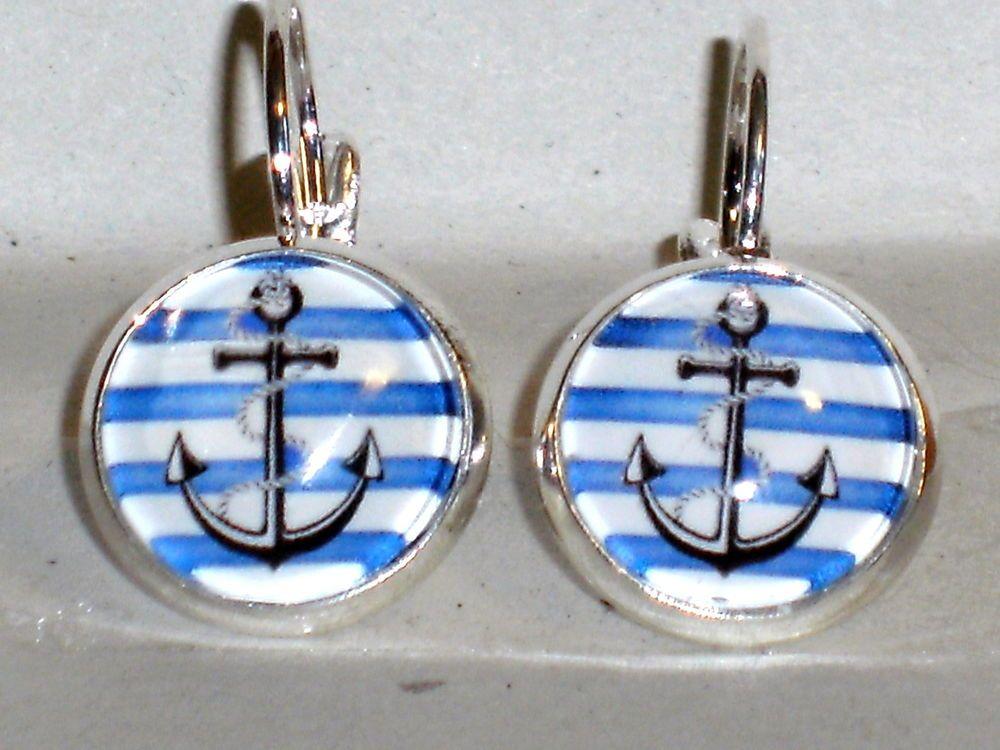 Ohrstecker Anker Rockabilly Maritim Damen Ohrringe Ohrschmuck Glas Blau Rund