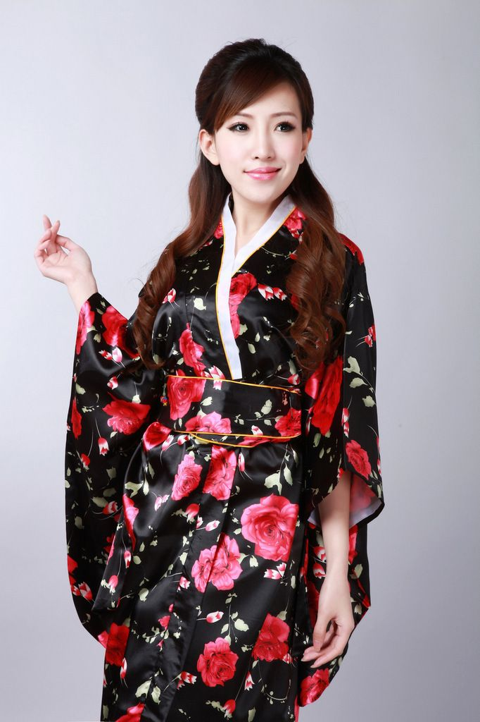 Silk Japanese Kimono Dress Vintage Female Kimono Stage Dance Dress Japanese  Traditional Costume Female Yukata Bathrobe 99f2ee3cec8f
