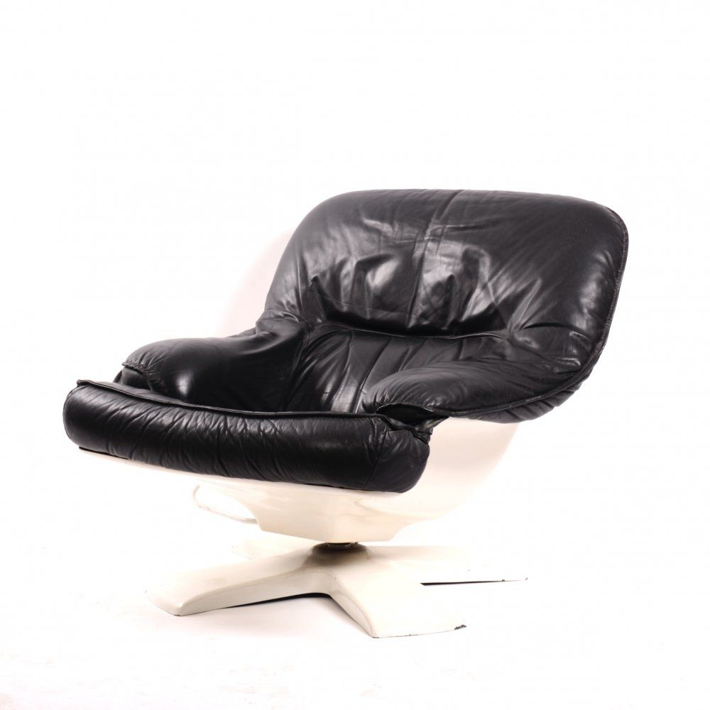 Vintage Space Age Leather Reclining Lounge Chair 1970s 139185 Vintage Space Leather Lounge Black Leather Armchair