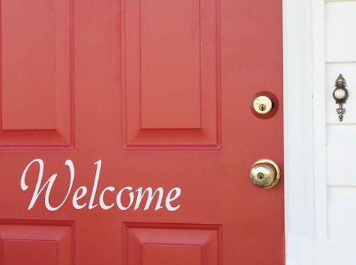 Welcome Front Door Decor Vinyl Decal Door Vinyl Door Lettering - Window decals for office doors