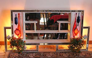 Mid Century Mirrored Lighted Shadow Box Made By Illinois Moulding