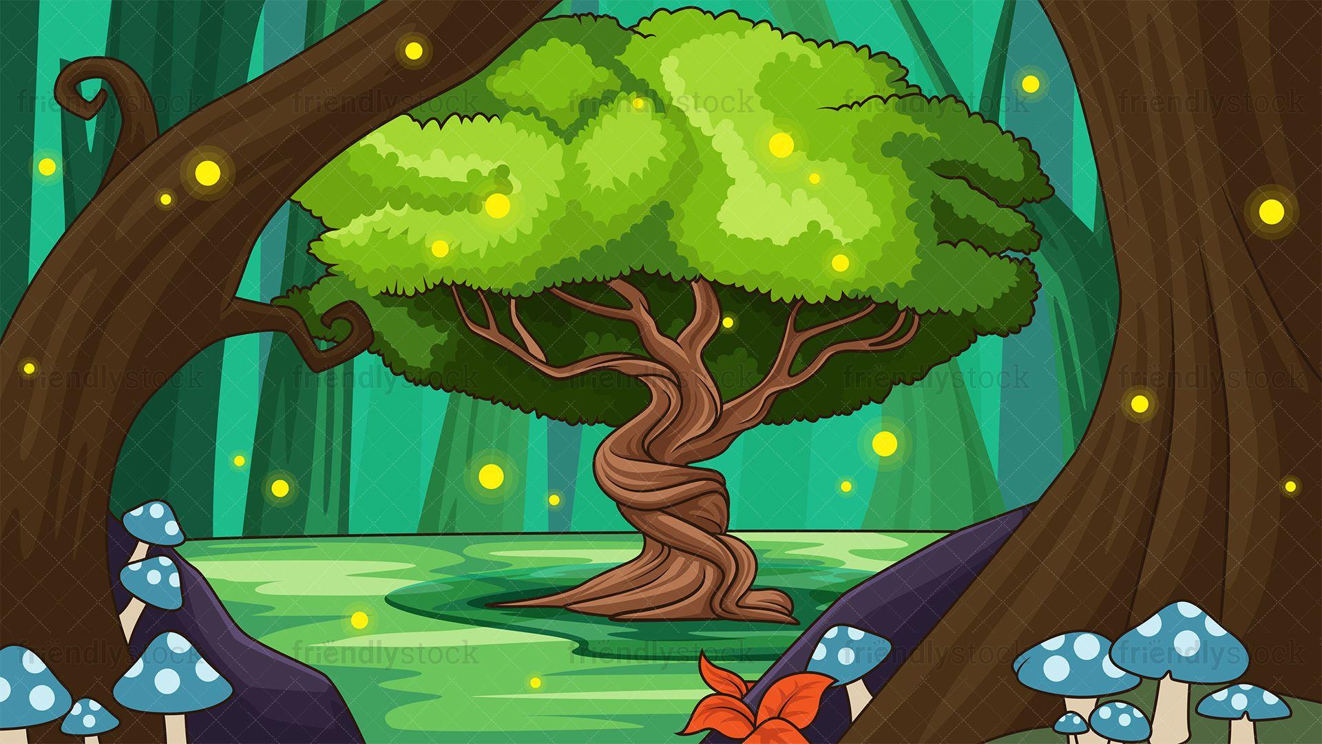 Tree Of Life Background Cartoon Vector Clipart Friendlystock Forest Cartoon Background Tree Of Life