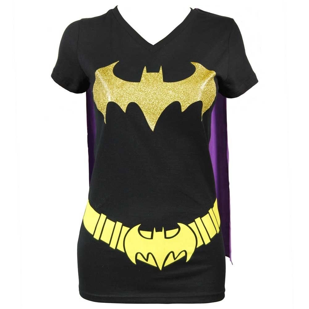 dee3b458 View 1 of Women's DC Comics Batgirl Cape T Shirt Black | My Infinite ...