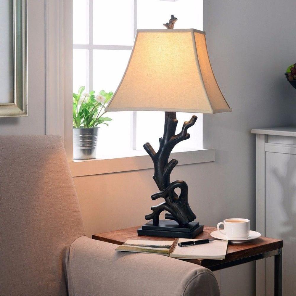 Luckett Woodgrain Finished Driftwood Styled Table Lamp Indoor Lighting #DesignCraft