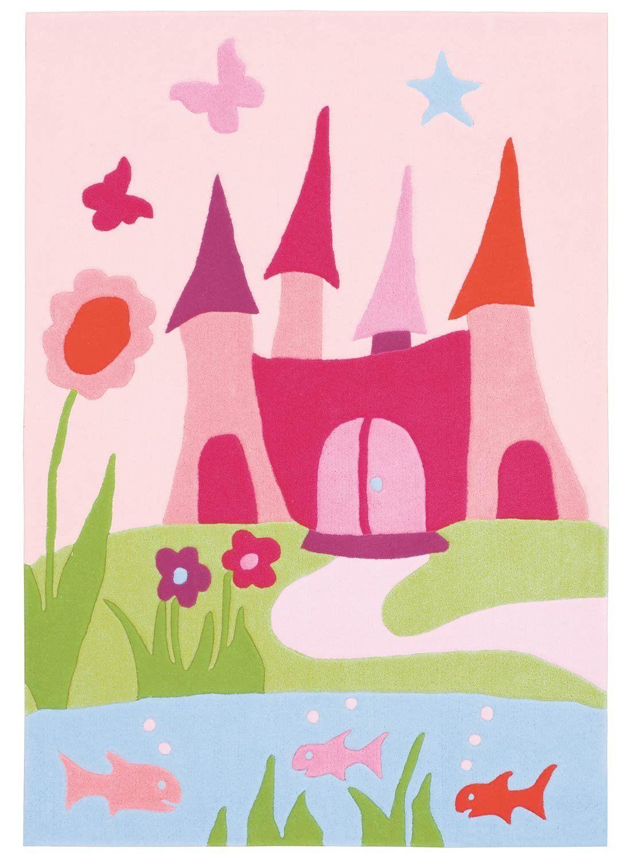 Tapis rose pour chambre de bébé fille ou enfant fillette, tapis pas ...