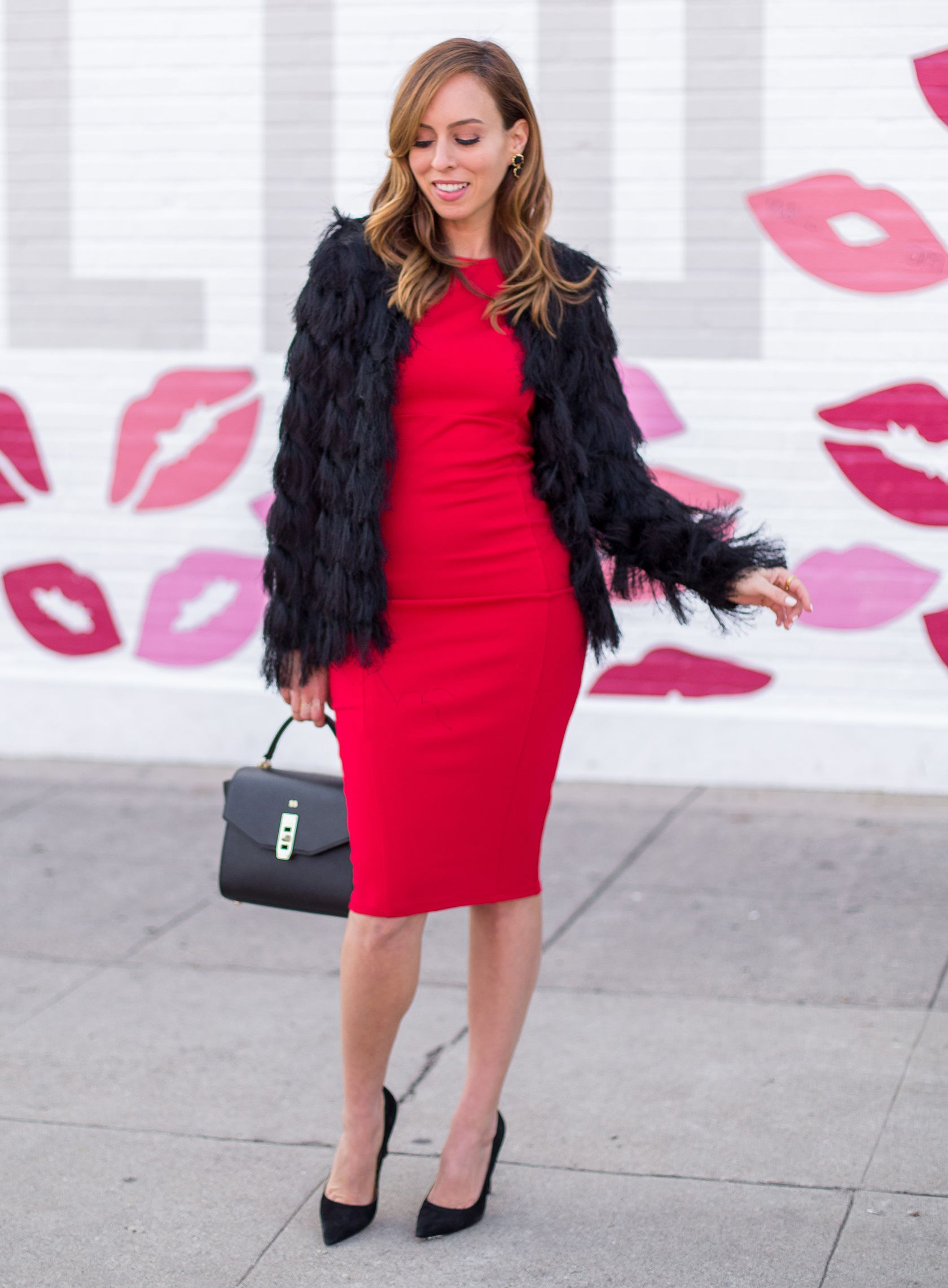 Sydne Style gives Valentines Day outfit idea in a little red dress ...