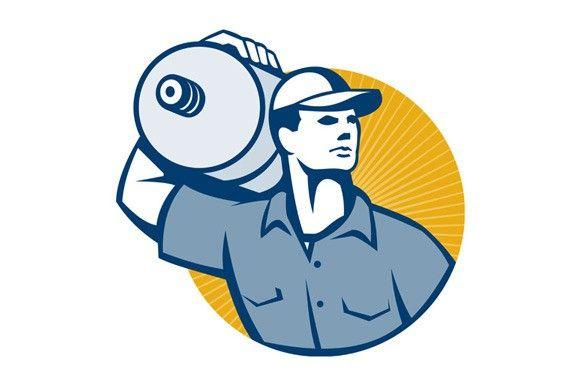 Delivery Worker Carrying Water Jug Illustration Design Artwork Illustration