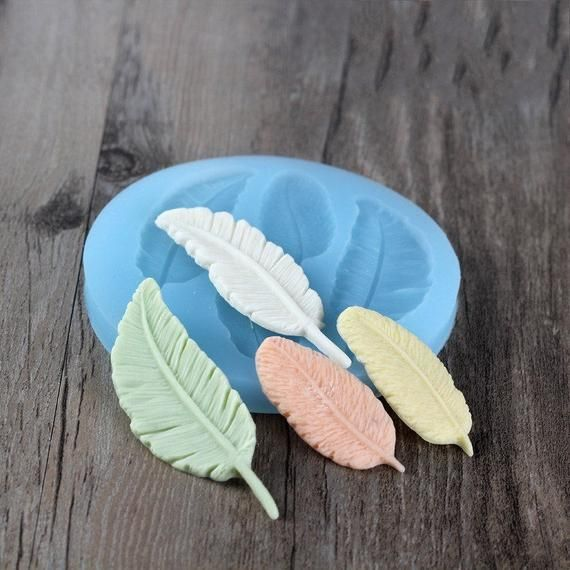 FEATHER LARGE SILICONE MOULD cupcake chocolate resin fimo polymer clay mold