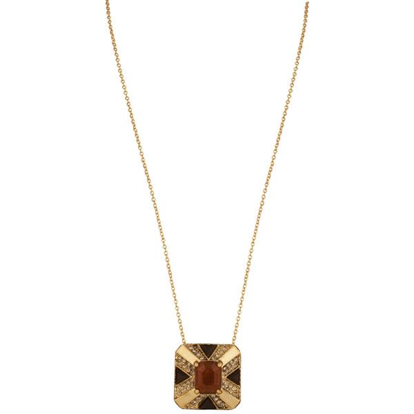 House Of Harlow House of Harlow Art Deco Pendant Necklace in Metallic Gold eXAeP1a