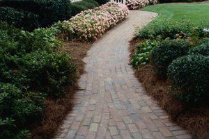 bluestone patio with brick wall and steps - Google Search