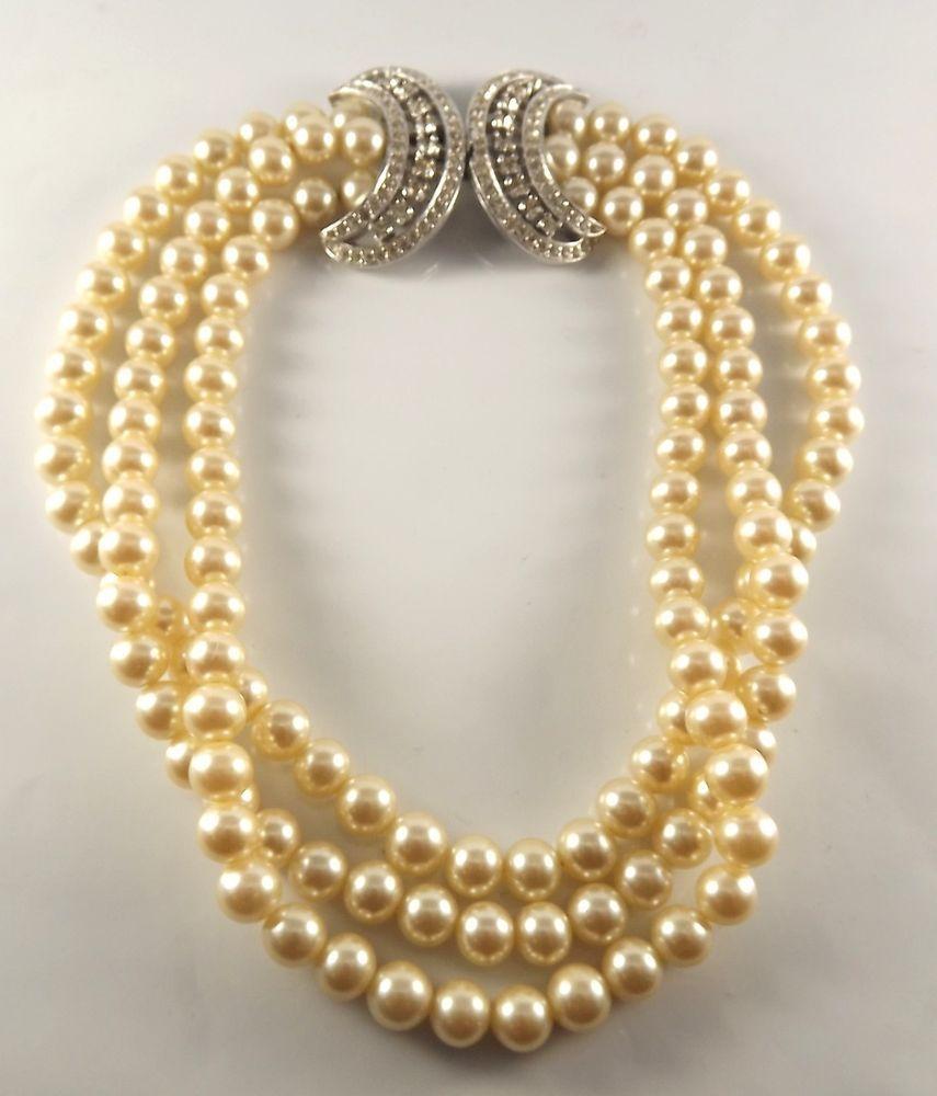 "Vintage Panetta triple strand 13"" necklace rhinestone half moon closure NR! #Panetta #triplestrandchokernecklace"