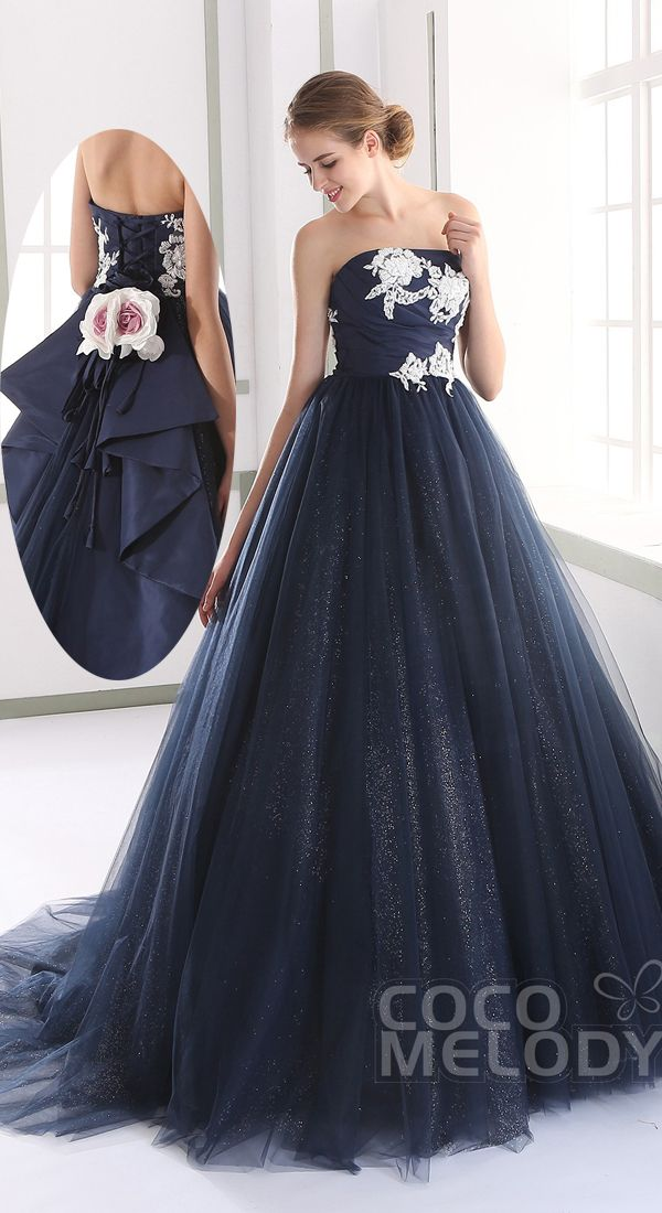 Lovely Strapless Natural Tulle Dark Navy Sleeveless Lace Up-Corset Wedding Dress with Appliques JUL015007 #weddingdresses2016 #cocomelody