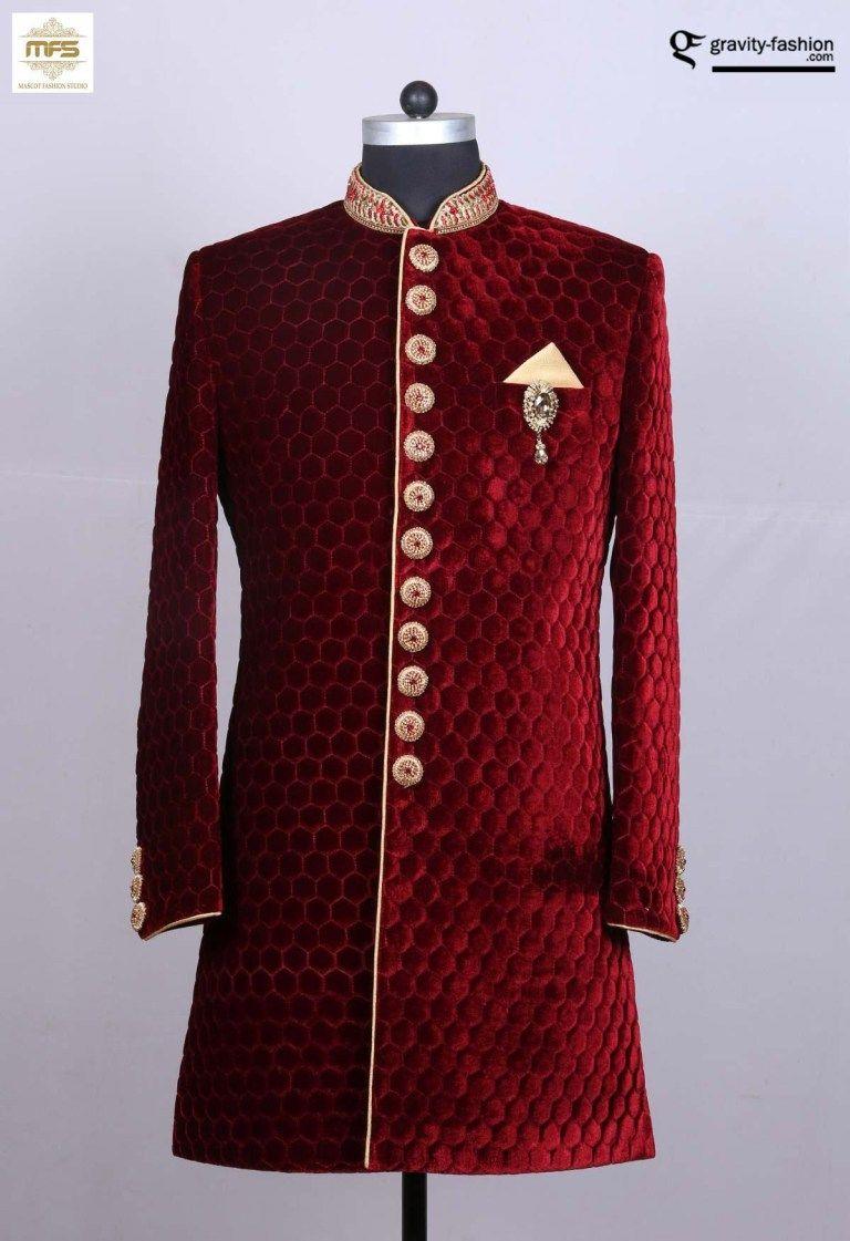 Maroon unique desginer wear indian panjabi groomus sherwaani in