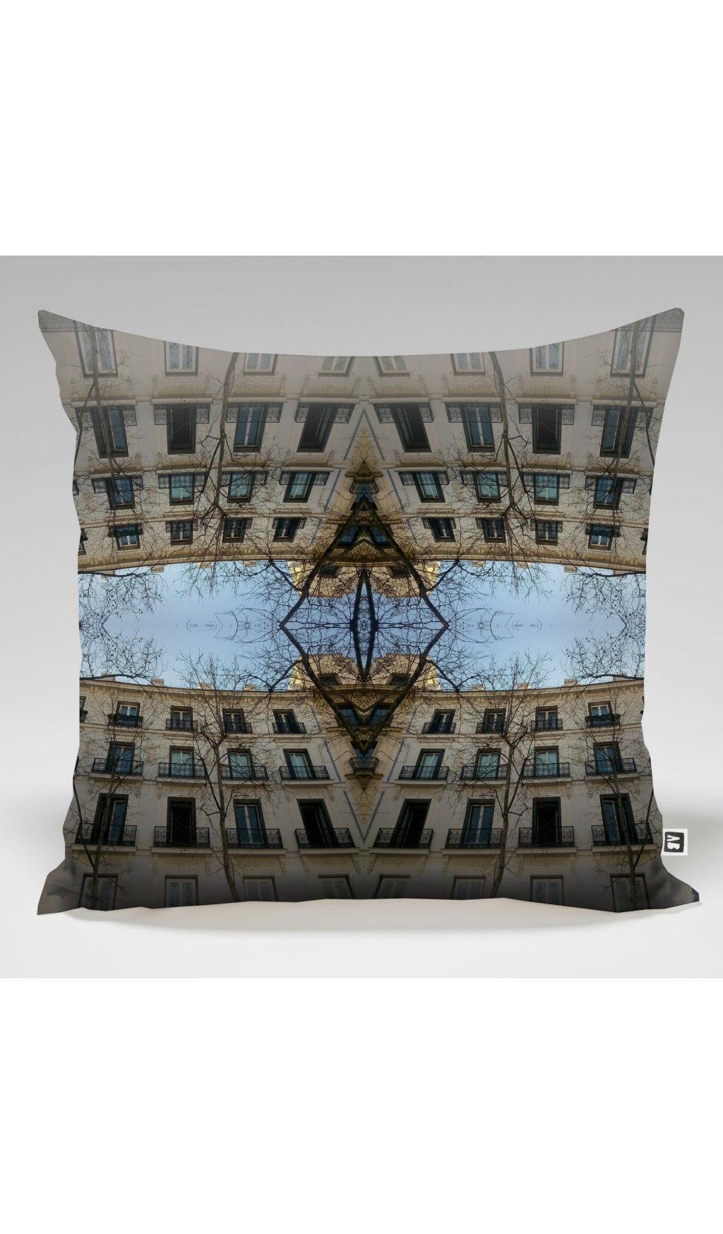 Large decoration design cushion with urban print by adrian balcau