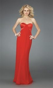 A-Line Sweetheart Chiffon Red Evening Gowns, Prom Dresses in Red, Red Strapless Dress   $135.00