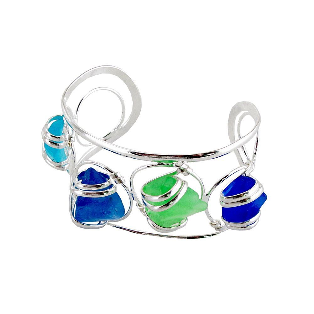 Sea Glass Hand-Crafted 4 Stone Wire Wrapped Cuff Bracelet in Blue Green CB16