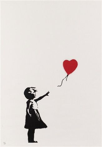 project # 3 current events banksy girl with balloon unsigned, 2004