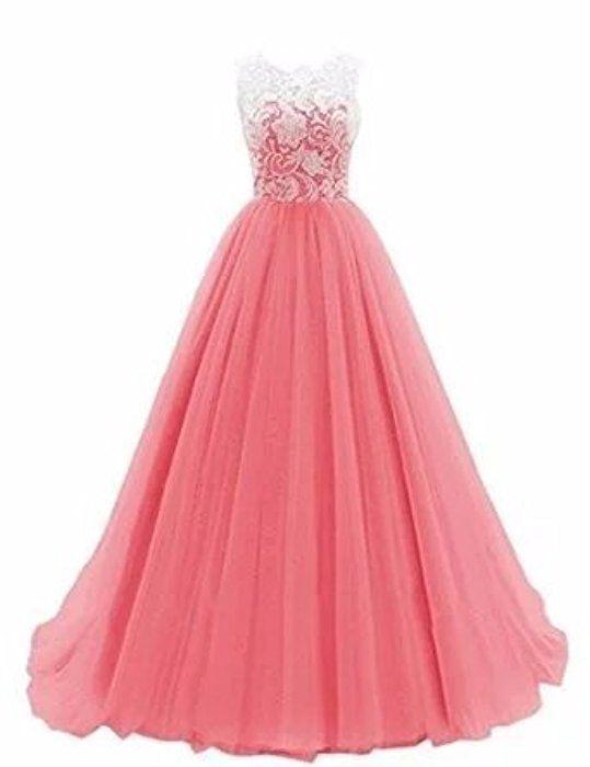 Damen A-Linie langes Lace Tuell Abendkleid Ballkleid brautjungfer ...