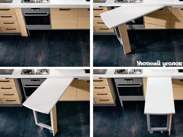 Hidden Kitchen Table | Hidden Kitchen Work Table Home Pinte