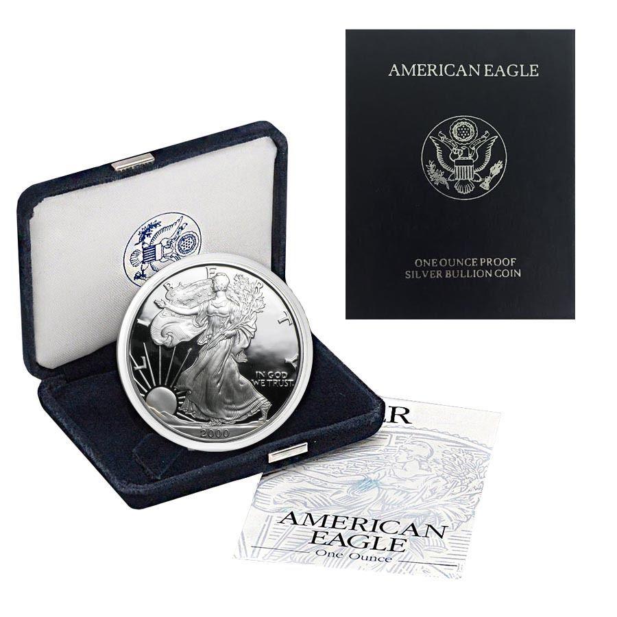 2000 P 1 Oz Proof Silver American Eagle W Box Coa American Silver Eagle American Eagle Silver Dollar Coin